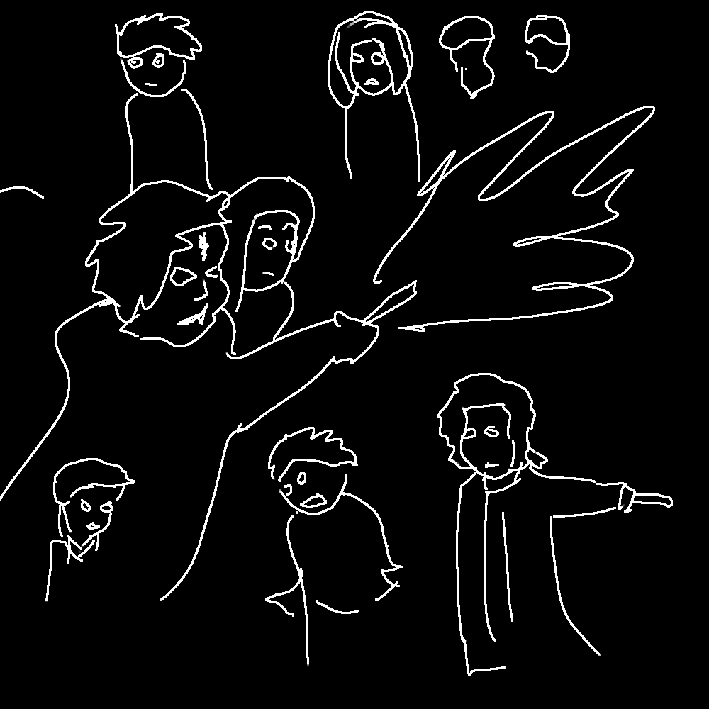 [Drawing: About 7 of the characters of Voldemort's Children, as a simple white line drawing on a black background.]